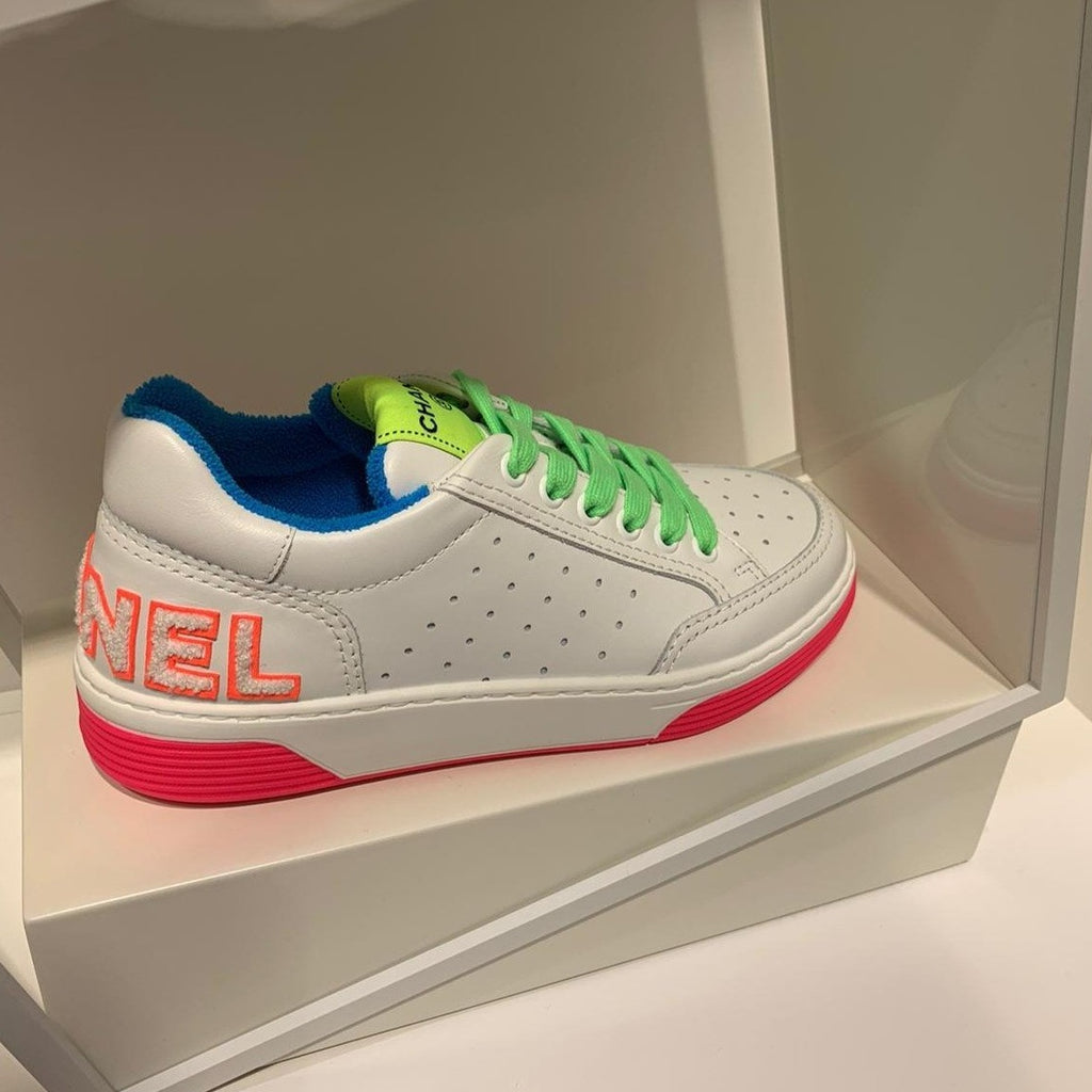 Chanel SS2020 neon green laces trainers with logo