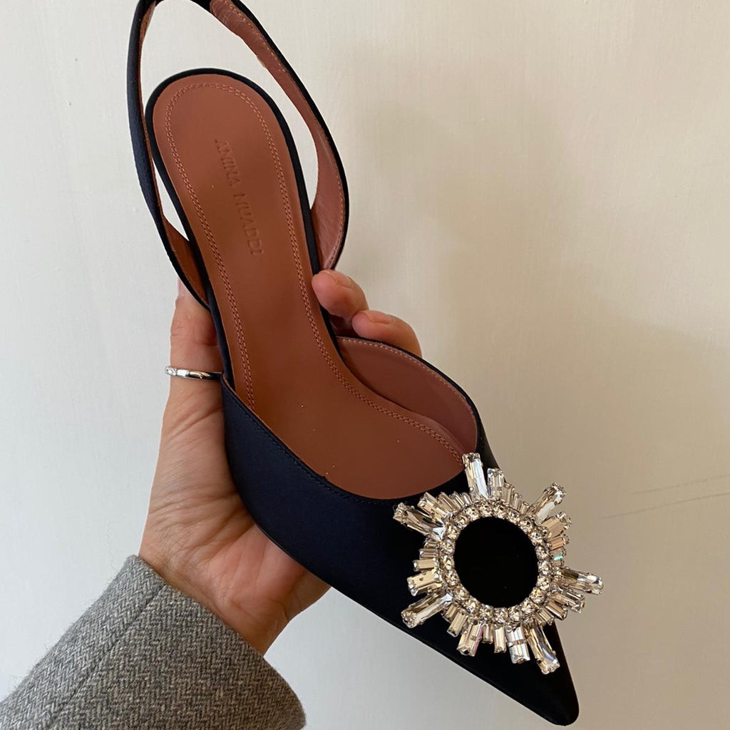 Amina Muaddi Begum black satin slingback pumps