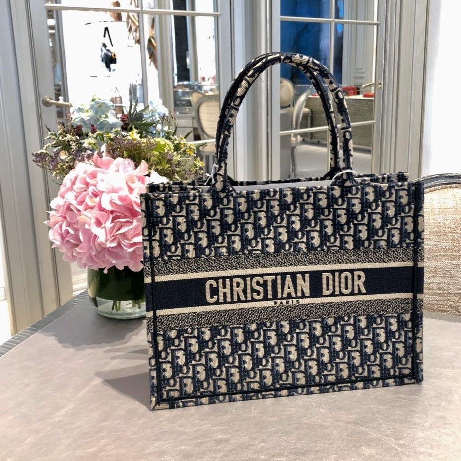 Dior Blue Oblique Embroidered Small Book Tote