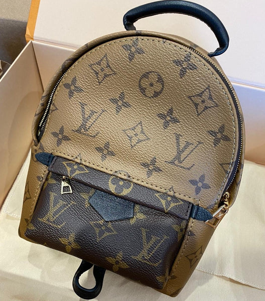 LV palm springs mini reverse canvas backpack