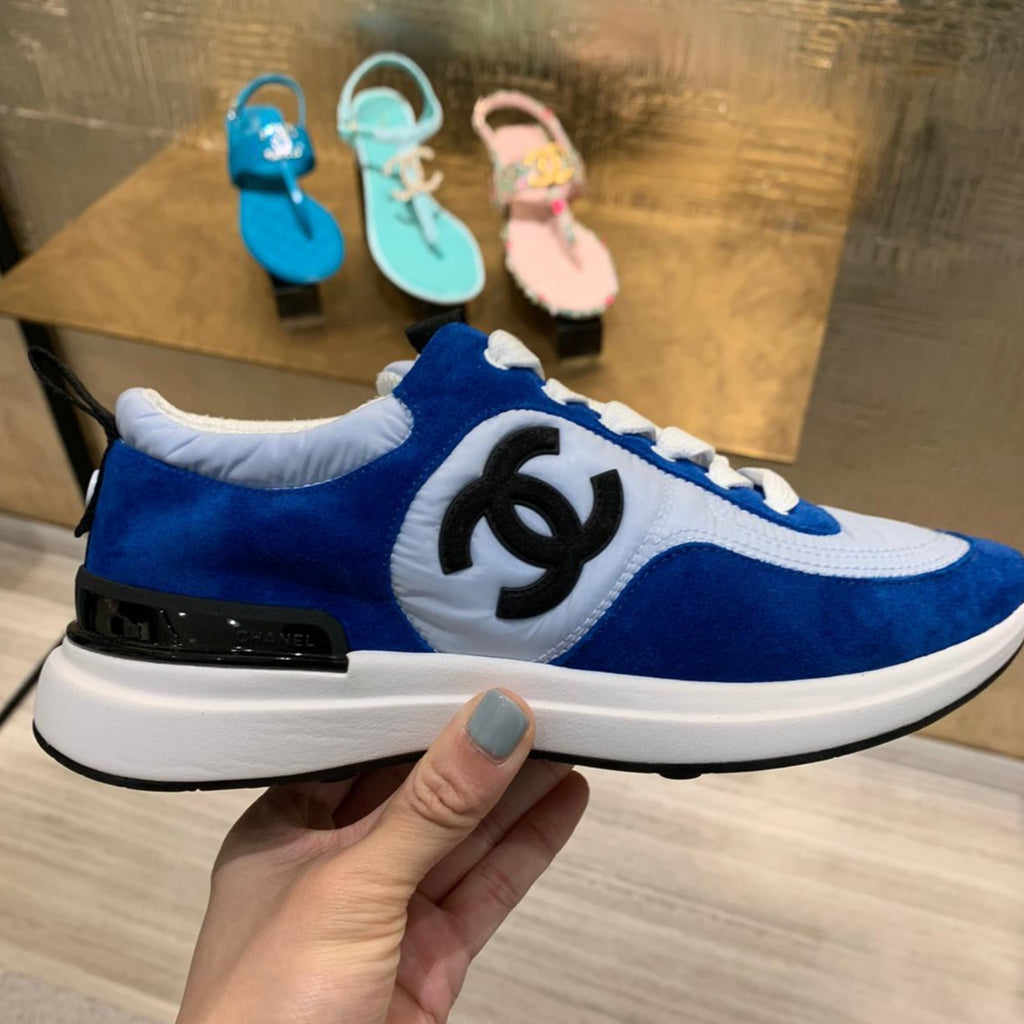 CHANEL Spring-Summer 2021 blue suede & nylon sneakers