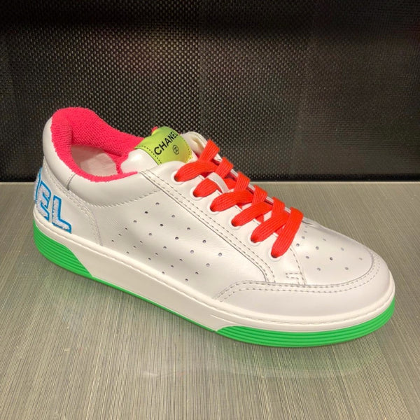 Chanel SS2020 orange laces white & neon trainer