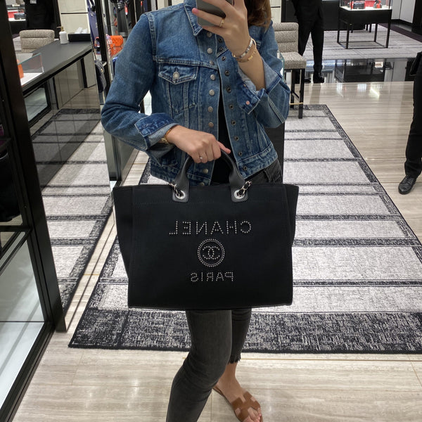 Chanel black canvas shopping tote