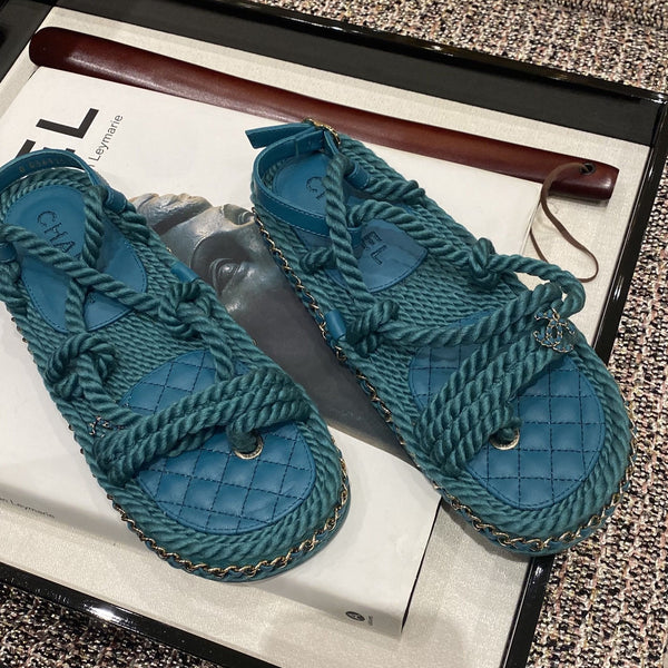 CHANEL blue cord sandals Cruise 2021