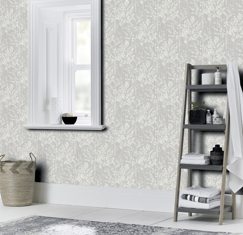 diamond Fern Grey bathroom wallpaper