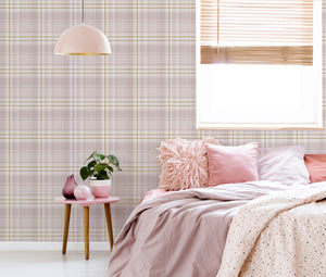 Twilled Plaid Pink & Rose Gold