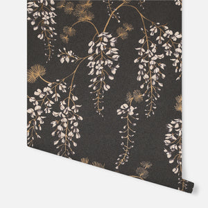 Wisteria Floral Black/Gold