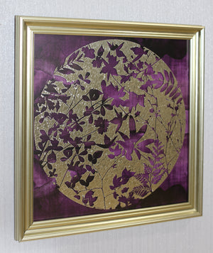 Plum & Gold Leaves Framed Print