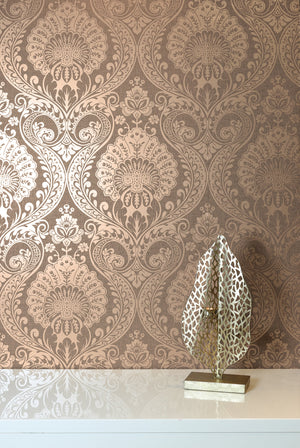 Luxe Damask Chocolate Rose Gold