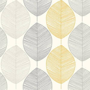 Scandi Leaf Yellow Glitter