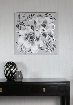 Grey Flower Diamante Canvas