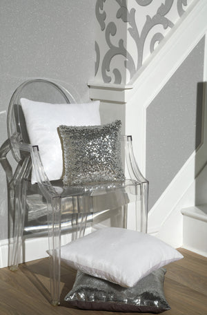 Ice White Sequin Cushion