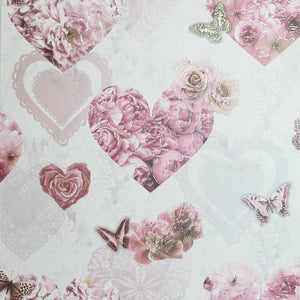Floral Hearts Pink & White