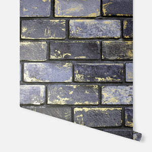Metallic Brick Navy & Gold