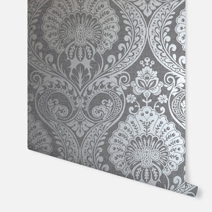 Luxe Damask Gunmetal Silver Arthouse