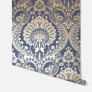 Luxe Damask Navy Gold