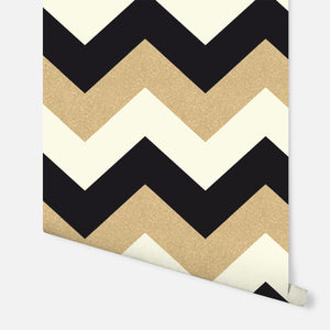 Glitterati Chevron Black & Gold