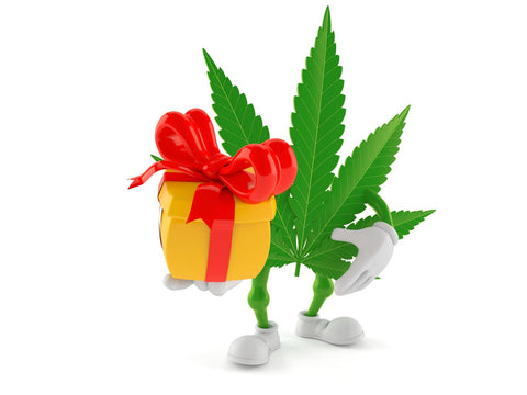 Weed Leaf Holding a Gift