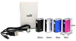 Black Red Silver and Blue E-Leaf Mini I-Stick 10w Vape Battery Kit and Contents