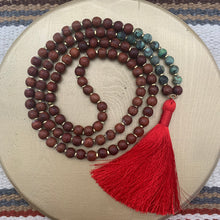 Load image into Gallery viewer, Large Rosewood Mala with Turquoise and Red Tassel