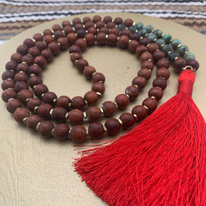 Large Rosewood Mala with Turquoise and Red Tassel