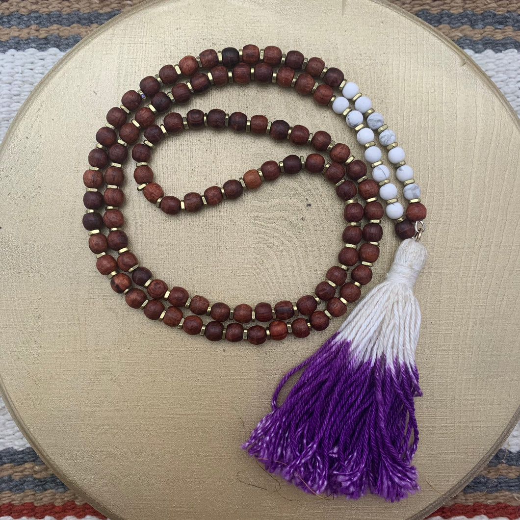 Small Rosewood Mala with Purple Dip Dyed Tassel
