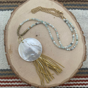 Amazonite, Mother of Pearl and Leather Tassel Long Necklace