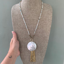 Load image into Gallery viewer, Amazonite, Mother of Pearl and Leather Tassel Long Necklace