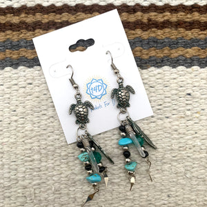 Sea Turtle Peru Earrings - Various Stones