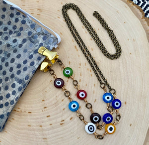 Multi Evil Eye Chain Facemask & Eyeglass Chain - Ant Silver or Ant Gold