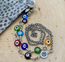 Load image into Gallery viewer, Multi Evil Eye Chain Facemask & Eyeglass Chain - Ant Silver or Ant Gold