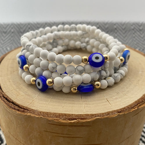 White Howlite and Blue Evil Eye Women's Bracelet