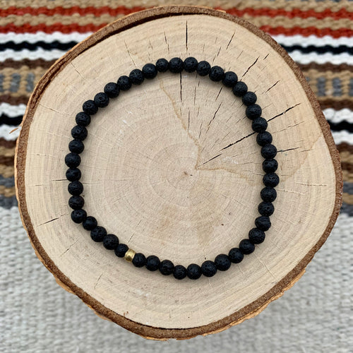 Men's Tiny Black Lava Bracelet