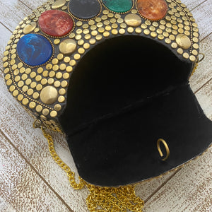 India Bohemian Mosaic Clutch Handbag - Gold Studded with Multi Medallions