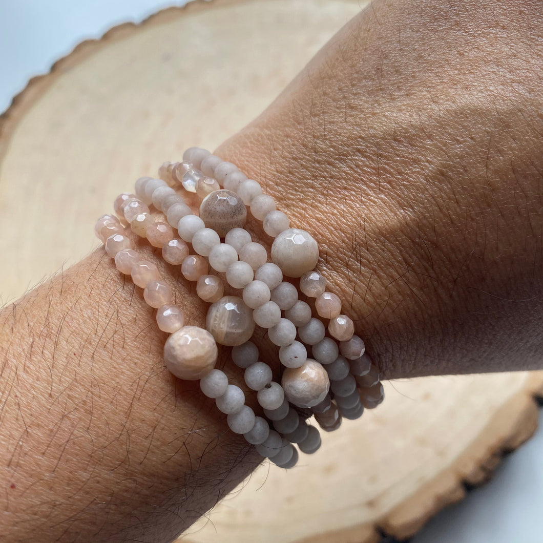 Blush Matte/Facetted Gemstone Bracelet