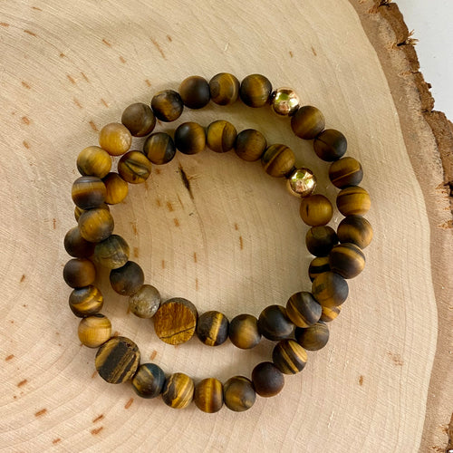 Mens Matte Tiger Eye Bracelet