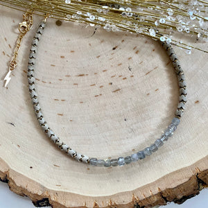 Labradorite Barrel and Herringbone Choker Necklace