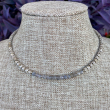 Load image into Gallery viewer, Labradorite Barrel and Herringbone Choker Necklace