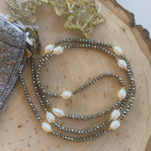 Taupe Crystal and Freshwater Pearl Facemask Chain