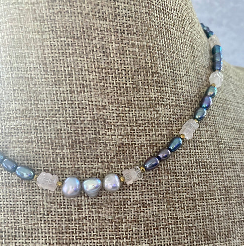 Gray Pearl and Rose Quartz Rockchic Choker