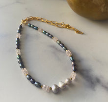 Load image into Gallery viewer, Gray Pearl and Rose Quartz Rockchic Choker