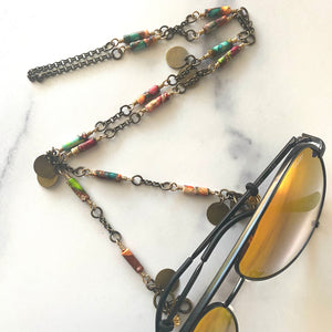 Multi-color & Brass Disc Facemask & Eyeglass Chain