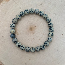 Load image into Gallery viewer, Matte Dalmatian Jasper with Labradorite Mens Bracelet