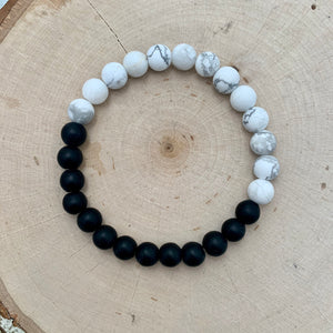 Half and Half Mens Bracelet - Black Onyx and White Howlite
