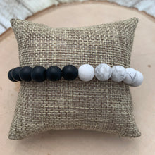 Load image into Gallery viewer, Half and Half Mens Bracelet - Black Onyx and White Howlite