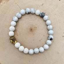 Load image into Gallery viewer, White and Gold Buddha Men's Diffuser Bracelet