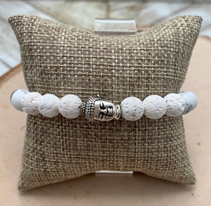 White and Silver Buddha Men's Diffuser Bracelet