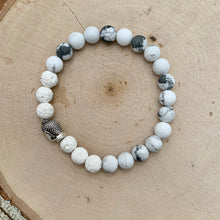 Load image into Gallery viewer, White and Silver Buddha Men's Diffuser Bracelet
