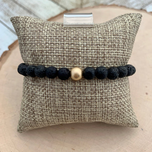 Lava and Gold Bead Men's Diffuser Bracelet