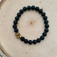 Load image into Gallery viewer, Black and Gold Buddha Men's Diffuser Bracelet